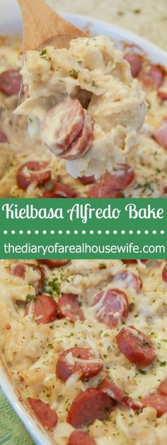 This Kielbasa Alfredo Bake is a family favorite that even the kids will enjoy! An easy recipe with a simple homemade Alfredo sauce and sliced kielbasa.  Even the kids enjoyed this one!