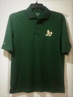 MLB Oakland A's Green with Gold/White A Polo Short Sleeved Shirt Men's Small #Athletics #Antigua #OaklandAs