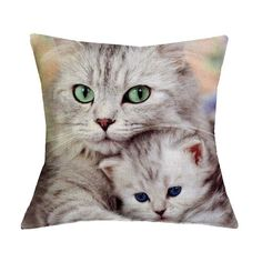 "Cute Cat Pillow Cover 17"" x 17"""
