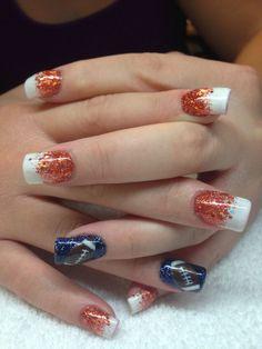 NFL Denver Bronco nails- now this I might actually do! Nails Only, Get Nails, Fancy Nails, Love Nails, Pretty Nails, Hair And Nails, Football Nail Art, Baseball Nails, Football Baby