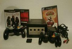 PAL NINTENDO GAMECUBE (BLACK) 2 CONTROLLERS + 3 GAMES + MEMORY CARD VGC