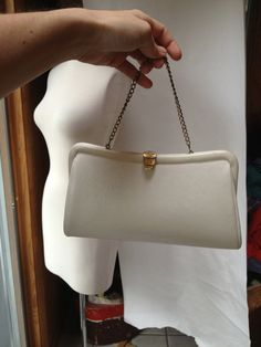 Vintage 1980s white vinyl purse by RightBankGirl on Etsy, $16.12