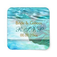 Beach theme wedding turtle RSVP Square Stickers