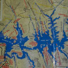Map of Lake Powell Lake Powell, Vacation Ideas, The Great Outdoors, Clocks, Utah, Grand Canyon, Maps, Arizona, Beautiful Places