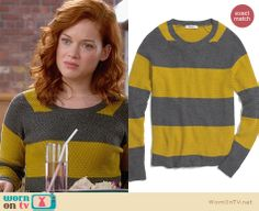 Tessa's blue and brown striped sweater on Suburgatory. Outfit ...