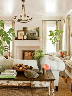 This pic only - love the overall look. But the sofa table - too distressed???
