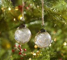 Silver Mercury Glass Ball Ornaments - Set of 12 #potterybarn #ChristmasDecorations