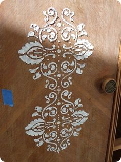 I did this a long time ago and forgot about it! Drywall putty and a stencil...so cool.