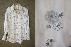 70s H-Bar-C Grey Rose Pearl Snap Shirt Cowboy by GeekGirlRetro