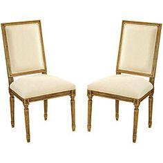 Antiqued Oak Cream Side Chair (Set of 2) - 355