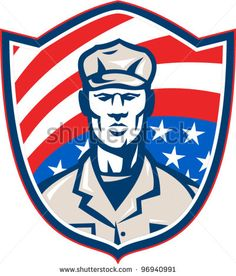 American Soldier With Stars and Stripes Shield Retro - stock vector #soldier #retro #illustration
