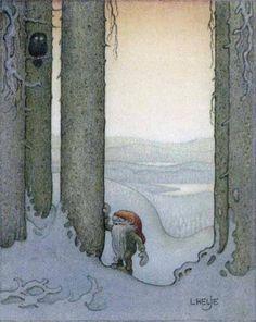 Lennart Helje is painter, illustrator, born in 1940 in Lima, Sweden. He paints Christmas elves in snowy landscape. Fairy-tale Artist.