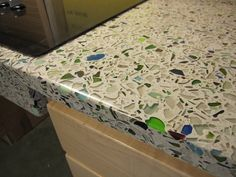One of Jason's next projects (maybe) broken glass concrete countertop diy BrainRight - Main Kitchen Countertop - North