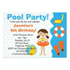 Custom Girl's Birthday Pool Party Personalized Invites In our offer link above you will seeReviewReview from Associated Store with this Deal...