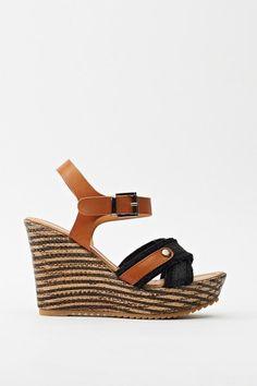Contrast Sling-Back Wedge Sandal