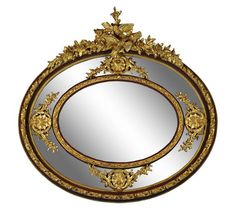 Grand Louis XVI style painted and parcel gilt oval mirror, 20th century