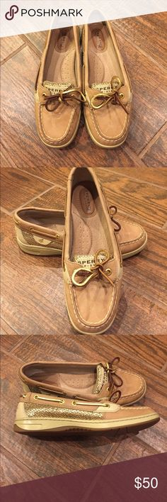 Sperry Top Sider Shoes Great condition Sperry shoes. Gold glitter accents on side of shoe and tongue. Only worn once! Sperry Shoes Flats & Loafers