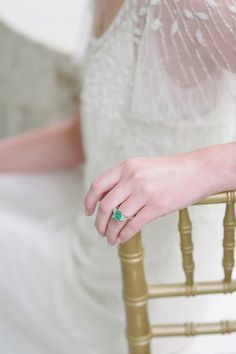 #emerald #green #ring Photography: Stacy Able - stacyable.com  Read More: http://stylemepretty.com/2013/10/22/downton-abby-styled-shoot-from-stacy-able/