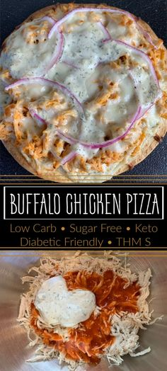Use this recipe to make the best low-carb, sugar-free Buffalo Chicken Pizza. The perfectly crispy crust and melty cheese is the perfect way to satisfy your appetite while sticking to your diet plans. Best Low Carb Recipes, Low Sugar Recipes, Low Carb Dinner Recipes, No Sugar Foods, Diet Recipes, Dinner No Carbs, Sugar Free Recipes Dinner, Low Sugar Dinners, Low Sugar Diet
