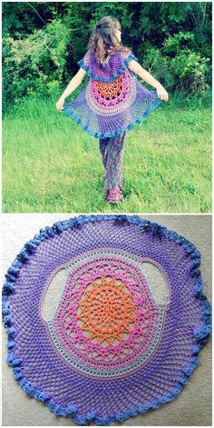 free crochet lotus mandala circular vest