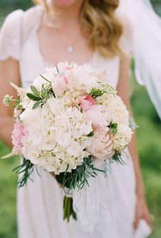 Bouquet With Hydrangeas, Roses, and Peonies | Brides.com