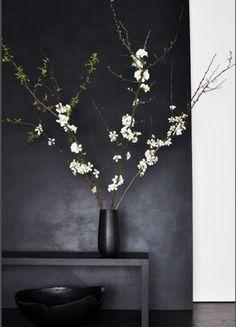 Black sexy interior with blossom contrast