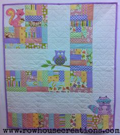 Lavender One Big Cabin Girl Quilt Racoon, Owl Squirrel Baby Quilt- so cute, i wonder what the rest of it looks like