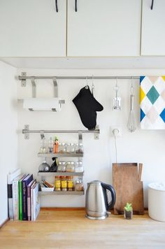 7 Smart Kitchens Organized With IKEA GRUNDTAL Rails IKEA GRUNDTAL Kitchen Organizing Ideas. This super slim storage hub can easily squeeze onto a tiny kitchen wall without taking up an inch of floor space. Best Ikea, Ikea Grundtal Kitchen, Small Kitchen Storage, Ikea Small Spaces, Paris Kitchen, Ikea, Stylish Storage Solutions, Home Kitchens, Small Kitchen Storage Solutions