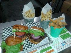 Oh My Burger,Gardena,CA:2 Hamburgers,1 Cheeseburger,1Mushroom Stick,1 Regular Fries and 1 Parmesan Fries