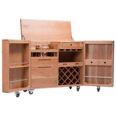 Mobile Expandable Bar Wine Cabinet In Cherrywood And Stainless Steel, Naihan  Li 1
