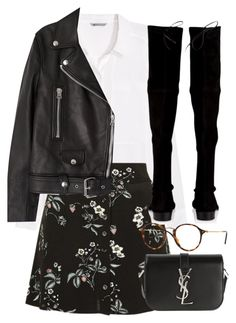 """""""Untitled #2893"""" by elenaday ❤ liked on Polyvore featuring H&M, Topshop, Acne Studios, Stuart Weitzman, Ray-Ban and Yves Saint Laurent"""