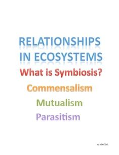 This is a full lesson plan and power point that includes a warm up, guided notes, an activity and an exit slip.  This lesson focuses on three types of symbiotic relationships that exist in ecosystems: commensalism, mutualism, and parasitism. This lesson provides everything your students will need to master these concepts and you will be able to determine mastery at the end of the lesson with a short formative assessment.