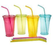 acrylic double walled, straws don't come out (except to wash), bottoms of cups don't sweat, lids with seals, all around great cups plus 1 color for each family member ~ qvc.com