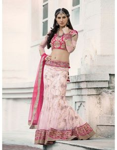 Light Pink Net Lehenga Choli with Resham Embroidery Work