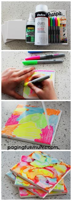 Incredible Sharpie Art Coasters Made by Kids 👈 Easy marbled tiles or coasters using Sharpies – DIY coasters – how to marble something – crafts for kids – easy marbling DIY Sharpie Crafts, Sharpie Art Projects, Spray Paint Projects, Sharpie Mugs, Sharpie Markers, Art Diy, Diy Coasters, Homemade Coasters, Marble Coasters