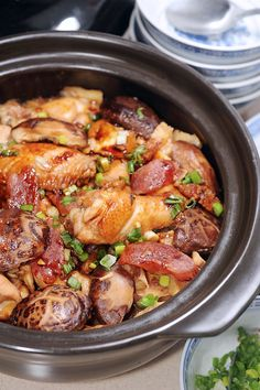 Cantonese claypot chicken and rice Claypot Rice Recipe, Claypot Recipes, Claypot Chicken Rice, Chinese Sausage, Cantonese Food, Chinese Vegetables, Asian Recipes, Ethnic Recipes, Malaysian Food