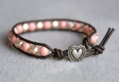 Pink Coral Bohemian beaded leather wrap bracelet by OlenaDesigns, $29.00