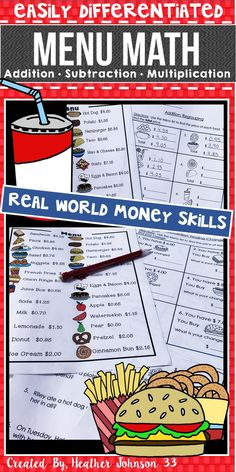 Money Practice: Real World Practice: Addition, Subtraction, Multiplication, Problems Solving Easily Differentiated Life Skills Lessons, Math Lessons, Real Life Math, Math Enrichment, Math Talk, Homeschool Math, Homeschooling, Curriculum, Math Projects
