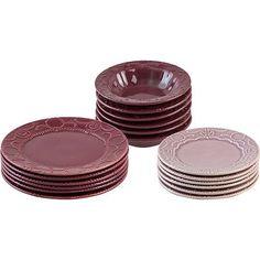 Conjunto de Pratos Cerâmica 18 Peças Arab Borgonha com Rosé - La Cuisine