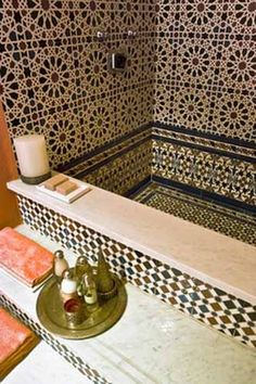 Moroccan Decor, Home Accessories and Wall Decoration in Moroccan style Moroccan bathroom Morrocan Bathroom, Moroccan Tiles, Bathroom Wall Decor, Moroccan Decor, Moroccan Bedroom, Moroccan Lanterns, Turkish Tiles, Bathroom Closet, Bathroom Interior