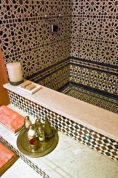 Moroccan Decor, Home Accessories and Wall Decoration in Moroccan style Moroccan bathroom Morrocan Bathroom, Moroccan Tiles, Moroccan Decor, Bathroom Wall Decor, Moroccan Bedroom, Moroccan Lanterns, Turkish Tiles, Bathroom Closet, Bathroom Interior