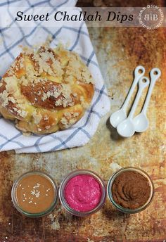 A trio of sweet Challah dips to serve with your favorite Challah recipe! Sweet halva tahini dip, beet hummus dip and pumpkin butter dip. Great for Rosh Hashanah or any holiday meal!