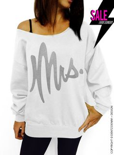 "Use coupon code ""pinterest"" Mrs. - White with Silver Slouchy Oversized Sweatshirt by DentzDesign"