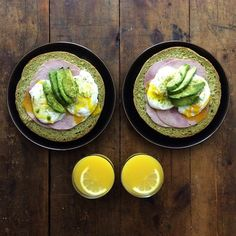"""""""Friday: Green Eggs and Ham (kind of) Matcha Bread, poached egg, ham, avocado, matcha salt and orange juice. Served on @minorgoods stoneware. Special…"""""""