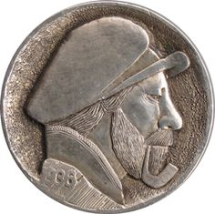 Ralph Perrico - Bearded Man Wearing a Cap Hobo Nickel, Art Forms, Sculpture Art, Buffalo, Classic Style, Cactus, Coins, Auction, Miniatures