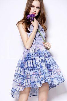Blue Sleeveless Butterfly Print Organza Dress-SheIn
