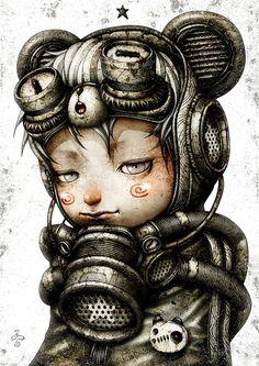 The Art of Shingo Matsunuma - Daily Art Arte Grunge, Arte Steampunk, Steampunk Drawing, Arte Robot, Arte Horror, Art Station, Pop Surrealism, Art Graphique, Surreal Art