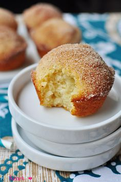 French Breakfast Puffs ~ sweet, tender muffins dipped in butter and cinnamon sugar   {Five Heart Home}