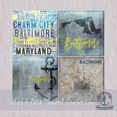 Baltimore Coaster Set: Maryland City by BrandiFitzgerald on Etsy