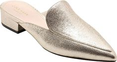 Cole Haan Women's Shoes in Silver Glitter Leather Color. A minimalist, pointy-toe profile instantly modernizes this sophisticated, loafer-inspired mule.